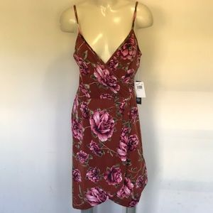 Rust and Floral Hi Low Dress NWT
